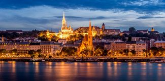 Evening view at the Buda quarter in Budapest Stock Images