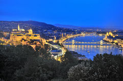 Evening view of of Budapest and the Danube River as Seen from Ge. Llert Hill Lookout Pointi Budapest, Hungary Stock Image