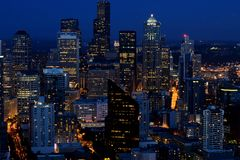 Seattle, WA in the evening stock images