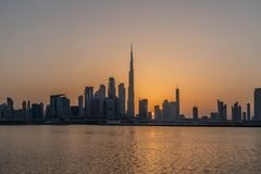 Dubai, United Arab Emirates 04/12/2019 - Evening view of Burj Khalifa, World Tallest Tower. A view from Sheikh Zayed Road, Residen royalty free stock image