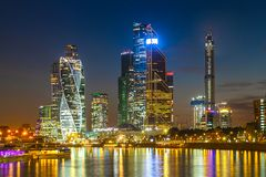 Evening view of the business center in Moscow royalty free stock images
