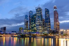 Evening view of the business district in Moscow - Moscow International Business Center `Moscow-City` royalty free stock image