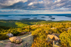 Evening view from Caddilac Mountain in Acadia National Park, Mai Stock Photos