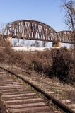 Cairo Railroad Bridge - Ohio River, Kentucky & Cairo, Illinois. An evening view of the Cairo Railroad Bridge that carries Illinois Central Railroad across the Royalty Free Stock Photos