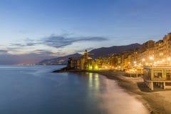 Evening view of Camogli. Beach resort in Liguria Stock Photo