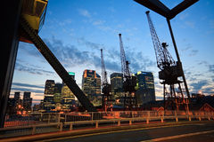 Evening view of Canary Wharf, London. Stock Images