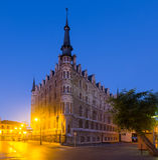 Evening view of The Casa de los Botines  in  Leon Royalty Free Stock Photos