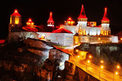 Evening view of the castle Kamyanets-Podilsky stock image