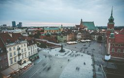 View of central Warsaw square. Evening view of central square in Warsaw. Warsaw old town, Poland stock images