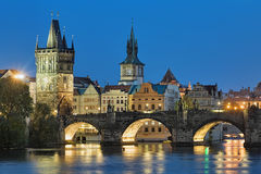 Evening view of the Charles Bridge in Prague, Czech Republic Stock Images