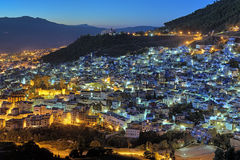 Evening view of Chefchaouen, Morocco Stock Photos