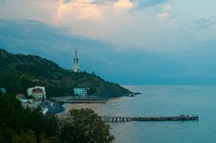 Evening view of the church-lighthouse stock image