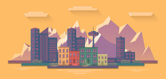 Evening view of the city on a background of mountains. Flat  illustration Stock Image