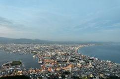 Evening view of the city of Hakodate. Royalty Free Stock Images