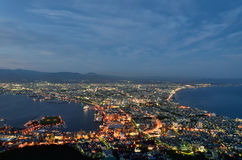 Evening view of the city of Hakodate. Royalty Free Stock Photo
