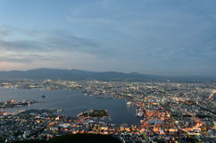 Evening view of the city of Hakodate. Stock Photo
