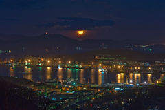 Evening view of the city of Nakhodka. Stock Images
