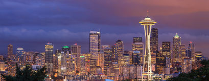 Evening view of the city of Seattle from Kerry Park, Washington Stock Photos