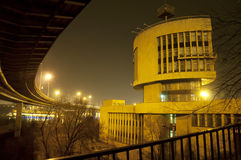 Evening view of the city. An evening view of the city under the bridge royalty free stock images