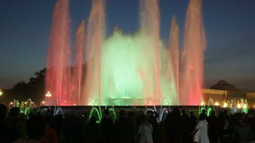 Evening view at colorful vocal fountain Montjuic stock footage
