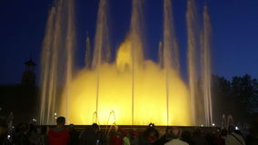 Evening view at colorful vocal fountain Montjuic show stock video footage