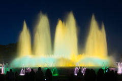 Evening view at colorful vocal fountain Montjuic show Royalty Free Stock Photo