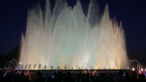 Evening view at colorful vocal fountain Montjuic stock video footage
