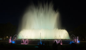 Evening view at colorful vocal fountain Montjuic Royalty Free Stock Photos