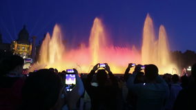 Evening view at colorful vocal Montjuic fountain in Barcelona. Catalonia, Spain stock video footage