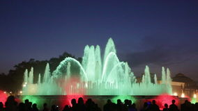 Evening view at colorful vocal Montjuic fountain in Barcelona. Catalonia, Spain stock video