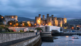 Evening view of Conwy castle in North Wales Royalty Free Stock Photos