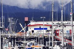 Evening view of the Cow bay at cloudy weather time. Prince Rupert. Canada stock image