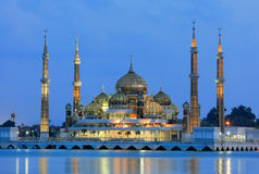 Evening view of crystal mosque in Kuala Terengganu. Malaysia royalty free stock photography