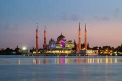 Evening view of crystal mosque in Kuala Terengganu, Malaysia Stock Images