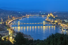 Evening view of Danube with Szechenyi Chain Bridge in Budapest Stock Photo