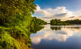 Evening view of the Delaware River at Delaware Water Gap Nationa Royalty Free Stock Image