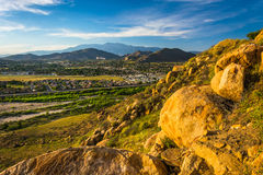 Evening view of distant mountains and valleys   Royalty Free Stock Photos