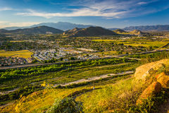 Evening view of distant mountains and valleys  Royalty Free Stock Image