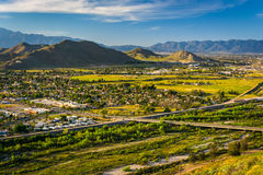 Evening view of distant mountains and valleys   Royalty Free Stock Photography