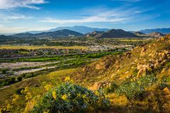 Evening view of distant mountains and valleys   Stock Image
