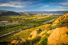 Evening view of distant mountains and valleys   Stock Photos