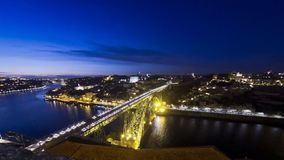 Evening view of Dom Luis Bridge over Duoro river in City of Porto, Portugal stock video footage