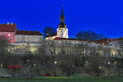 Evening view of Dome Church on Toompea Hill in Tallinn Old Town Stock Photography