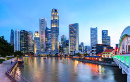 Evening view of Downtown Core Skyscrapers and Bayfront district. Singapore City Royalty Free Stock Images