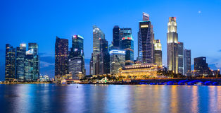 Evening view of Downtown Core Skyscrapers and Bayfront district. Singapore Royalty Free Stock Photo