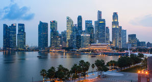 Evening view of Downtown Core Skyscrapers and Bayfront district. Singapore Stock Image