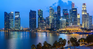 Evening view of Downtown Core Skyscrapers and Bayfront district. Singapore Royalty Free Stock Image