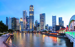 Evening view of Downtown Core Skyscrapers and Bayfront district. Singapore City state. SINGAPORE CITY, SINGAPORE - 14 NOVEMBER 2014: Evening view of Downtown Royalty Free Stock Image