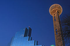 Evening View of Downtown Dallas Stock Image