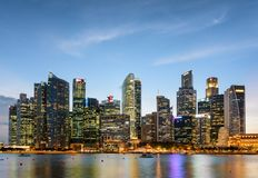 Evening view of downtown in Singapore. Wonderful skyscrapers. Amazing evening view of downtown in Singapore. Wonderful skyscrapers and other modern buildings are stock photography